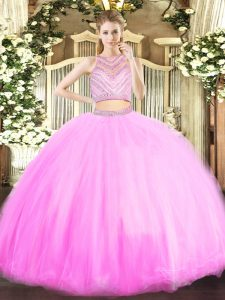 Floor Length Lilac Sweet 16 Quinceanera Dress Scoop Sleeveless Zipper