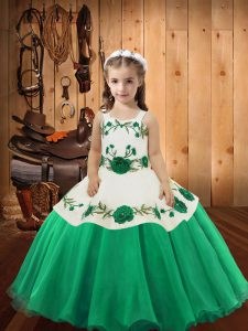Sleeveless Lace Up Floor Length Embroidery Pageant Dresses