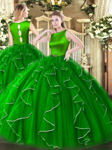 Glorious Green Scoop Neckline Ruffles Quinceanera Gowns Sleeveless Clasp Handle