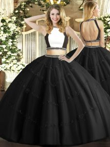 Fashionable Black Ball Gowns Beading Quinceanera Gowns Backless Tulle Sleeveless Floor Length