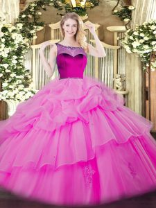 Wonderful Floor Length Zipper Quinceanera Dress Lilac for Sweet 16 and Quinceanera with Beading and Appliques and Pick Ups