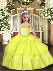 Floor Length Yellow Little Girls Pageant Gowns Straps Sleeveless Lace Up