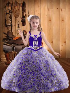 Amazing Multi-color Sleeveless Floor Length Embroidery and Ruffles Lace Up Kids Formal Wear