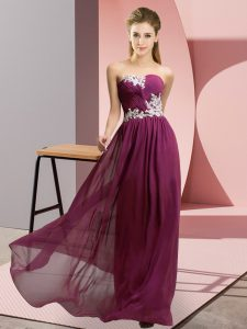 Dark Purple Empire Appliques Prom Dress Lace Up Chiffon Sleeveless Floor Length