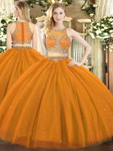 Noble Rust Red Sleeveless Floor Length Beading Zipper Quince Ball Gowns