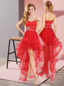 High Low Red Quinceanera Dama Dress Tulle Sleeveless Beading