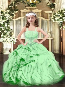 Organza Straps Sleeveless Lace Up Beading and Ruffles Girls Pageant Dresses in Green