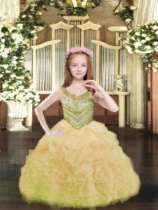 Discount Gold Scoop Neckline Beading and Ruffles and Pick Ups Pageant Dress Toddler Sleeveless Lace Up
