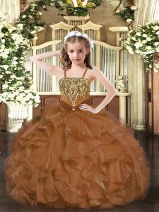 Luxurious Brown Sleeveless Organza Lace Up Little Girl Pageant Gowns for Party and Quinceanera