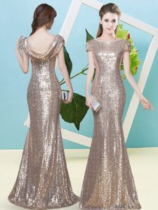Dazzling Cap Sleeves Floor Length Sequins Zipper Prom Party Dress with Champagne