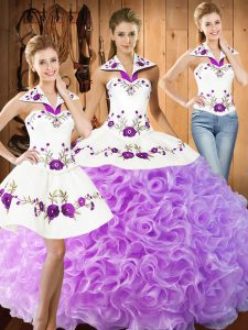 Shining Lilac Sleeveless Floor Length Embroidery Lace Up Sweet 16 Dress