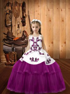 Dazzling Purple Sleeveless Tulle Lace Up Little Girls Pageant Dress Wholesale for Sweet 16 and Quinceanera
