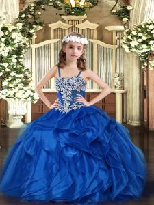 Sleeveless Floor Length Appliques and Ruffles Lace Up Pageant Dress for Teens with Blue
