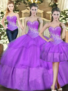 Tulle Sleeveless Floor Length Sweet 16 Dress and Beading and Ruffled Layers