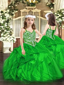 Inexpensive Green Ball Gowns Organza Straps Sleeveless Beading and Ruffles Floor Length Lace Up Pageant Dress for Girls
