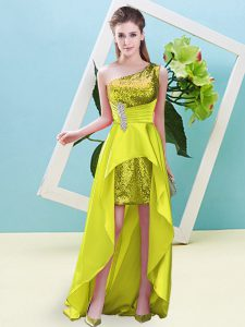Low Price Yellow Lace Up One Shoulder Beading and Sequins Prom Gown Elastic Woven Satin and Sequined Sleeveless