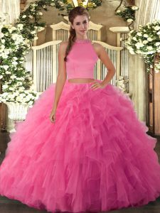 Fashionable Two Pieces Quince Ball Gowns Hot Pink Halter Top Tulle Sleeveless Floor Length Backless