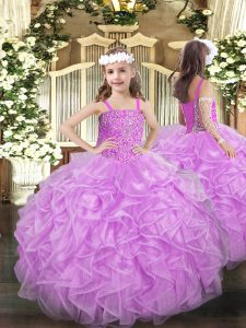 Sleeveless Organza Floor Length Lace Up Custom Made Pageant Dress in Lilac with Beading and Ruffles