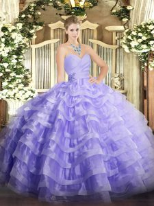 Graceful Lavender Organza Lace Up Sweetheart Sleeveless Floor Length Sweet 16 Dresses Beading and Ruffled Layers