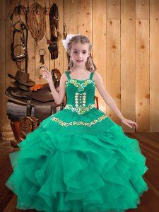 Turquoise Sleeveless Floor Length Embroidery and Ruffles Lace Up Pageant Dress