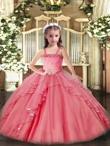 Glorious Watermelon Red Organza Lace Up Straps Sleeveless Floor Length Little Girl Pageant Dress Appliques and Ruffles