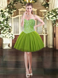 Sumptuous Olive Green Sweetheart Lace Up Beading Prom Dresses Sleeveless