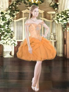 Sexy Orange Red Lace Up Prom Party Dress Beading and Ruffles Sleeveless Mini Length