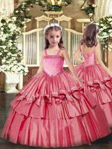 Cheap Ball Gowns Pageant Dress Toddler Coral Red Straps Organza Sleeveless Floor Length Lace Up
