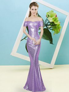 Lilac Zipper Off The Shoulder Sequins Prom Party Dress Sequined Short Sleeves