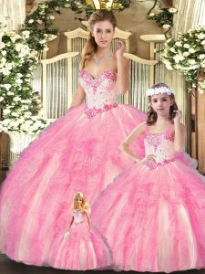 Excellent Sweetheart Sleeveless Organza Sweet 16 Quinceanera Dress Beading and Ruffles Lace Up