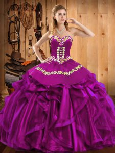 Superior Sleeveless Lace Up Floor Length Embroidery and Ruffles Sweet 16 Quinceanera Dress