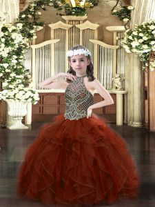 Rust Red Sleeveless Floor Length Beading and Ruffles Lace Up Little Girls Pageant Gowns