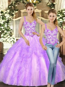 Lilac Ball Gowns Beading and Ruffles Womens Party Dresses Lace Up Organza Sleeveless Floor Length