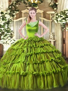 Trendy Olive Green Ball Gowns Organza Scoop Sleeveless Beading and Ruffled Layers Floor Length Side Zipper Sweet 16 Dress