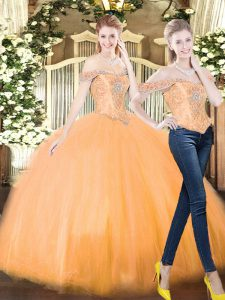 Off The Shoulder Sleeveless Quinceanera Dresses Floor Length Beading and Ruffles Orange Red Organza