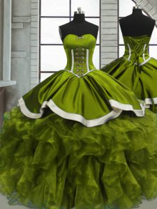 Flare Olive Green Ball Gowns Beading and Ruffles Ball Gown Prom Dress Lace Up Organza Sleeveless Floor Length