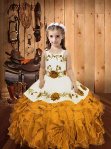 Sleeveless Organza Floor Length Zipper Pageant Dresses in Gold with Embroidery and Ruffles
