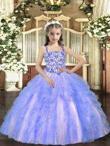 Sleeveless Tulle Floor Length Lace Up Little Girl Pageant Gowns in Light Blue with Beading and Ruffles