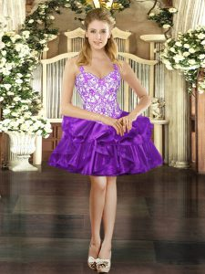 Mini Length Lace Up Purple for Prom and Party with Beading and Ruffles