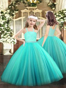 Dazzling Straps Sleeveless Custom Made Pageant Dress Floor Length Beading and Lace Turquoise Tulle