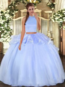 Fitting Two Pieces 15th Birthday Dress Light Blue Halter Top Organza Sleeveless Floor Length Backless