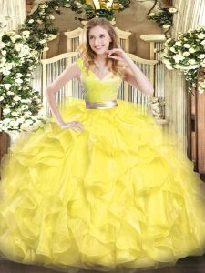 Deluxe Yellow V-neck Neckline Beading and Ruffles Ball Gown Prom Dress with Shawl Sleeveless Zipper