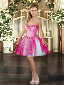Elegant Ball Gowns Prom Party Dress Hot Pink Sweetheart Tulle Sleeveless Mini Length Lace Up