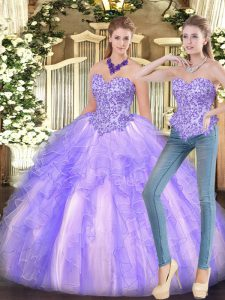 Designer Lavender Sweetheart Lace Up Appliques and Ruffles Quinceanera Gown Sleeveless