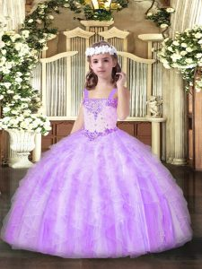 Admirable Lilac Sleeveless Floor Length Beading and Ruffles Lace Up Glitz Pageant Dress