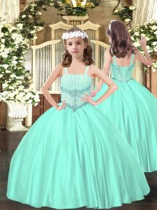 Satin Sleeveless Floor Length Little Girls Pageant Dress and Beading