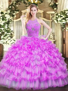 Best Selling Halter Top Sleeveless 15 Quinceanera Dress Floor Length Beading and Ruffled Layers Lilac Tulle