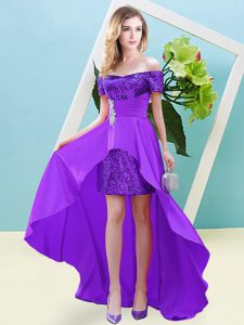High Low Empire Short Sleeves Eggplant Purple Prom Dress Lace Up