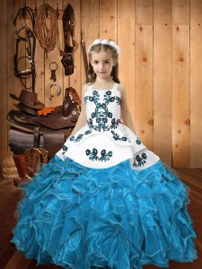 Blue Lace Up Glitz Pageant Dress Embroidery and Ruffles Sleeveless Floor Length