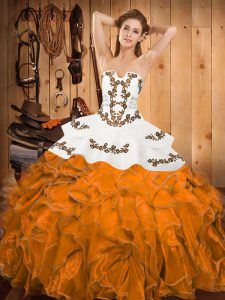 Embroidery and Ruffles Quinceanera Dresses Orange Lace Up Sleeveless Floor Length